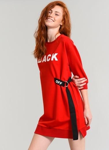 Agenda Baskılı Sweat Elbise Kırmızı